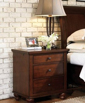 BEDROOM CAMBRIDGE NIGHTSTAND BROWN CHERRY FINISH