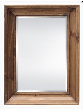 ACCESSORIES BEVELED MIRROR LIGHT BROWN OAK FINISH FRAME
