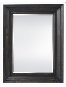 ACCESSORIES BEVELED MIRROR WALNUT FINISH WOOD FRAME