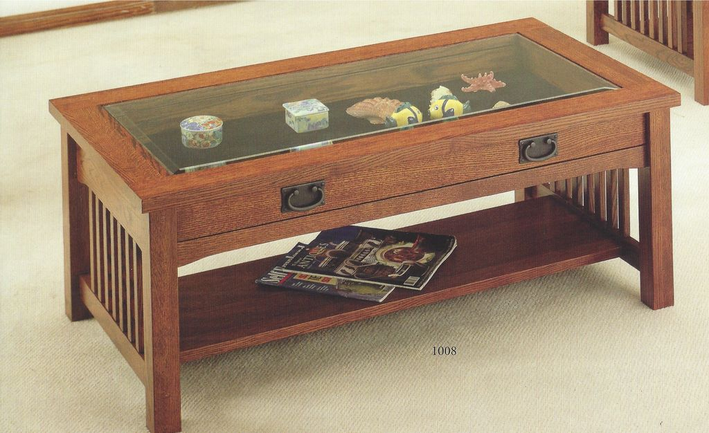 ENTERTAINMENT MISSION CHERRY CURIO COFFEE TABLE SOLID OAK