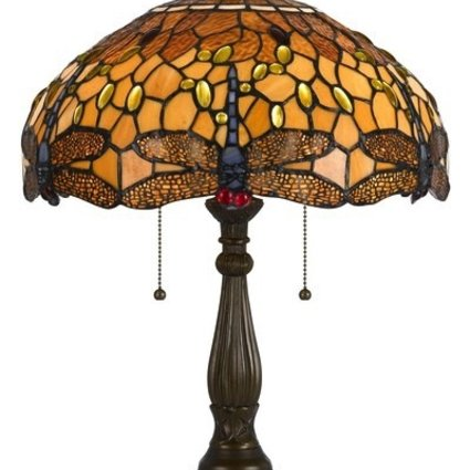 LIGHTING TIFFANY TABLE LAMP WITH ZINC CAST BASE