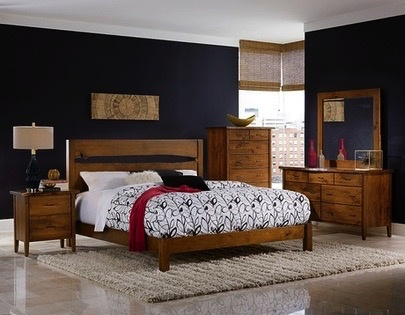 BEDROOM VICTOR QUEEN BED  RUSTIC CHERRY-DISTRESSED SPECIALITY STAIN #74 RUSTIC BOURBON FINISH