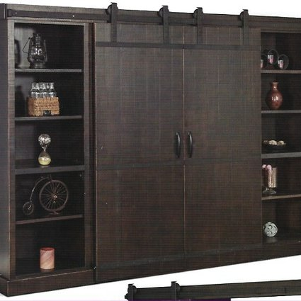 ENTERTAINMENT ENTERTAINMENT WALL UNIT WITH BARN DOORS  CHARRED OAK FINISH