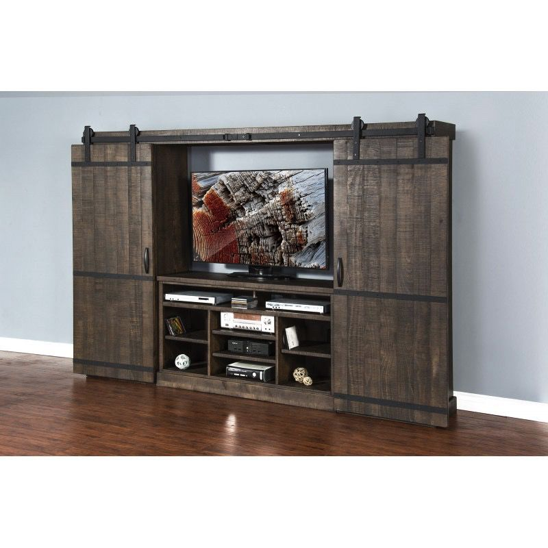ENTERTAINMENT TOBACCO LEAF ENTERTAINMENT WALL WITH BARN DOORS
