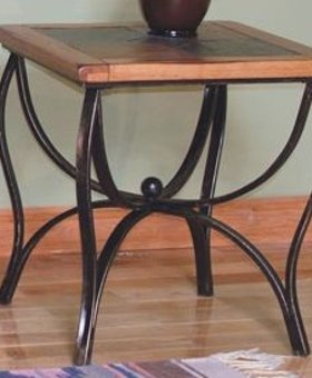 ENTERTAINMENT SEDONA SLATE TOP METAL END TABLE