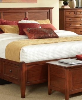 BEDROOM WESTLAKE QUEEN STORAGE BED CHERRY BROWN FINISH