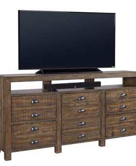 "ENTERTAINMENT PRINTWORKS 75"" WIDE TV CONSOLE RUM FINISH"