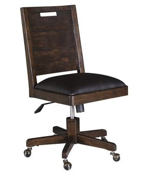 "OFFICE CLEARANCE ITEM! PINE HILL WOOD SWIVEL CHAIR WITH UPHOLSTERED SEAT AND WOOD BACK SOLD ""AS IS"""