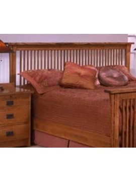 BEDROOM SOLID OAK QUEEN SPINDLE HEADBOARD MISSION CHERRY
