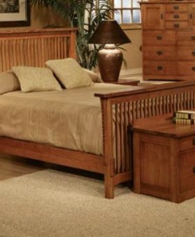 BEDROOM QUEEN SPINDLE BED MISSION CHERRY FINISH SOLID OAK