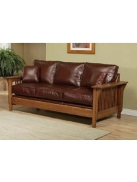 UPHOLSTERED MISSION SOFA  HAVEN FABRIC MISSION CHERRY FINISH   (PICTIRED IN LEATHER)