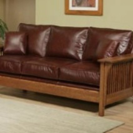 UPHOLSTERED MISSION SOFA HAVEN FABRIC SOLID OAK MISSION CHERRY FINISH   <br /> (PICTIRED IN LEATHER @ $4299)