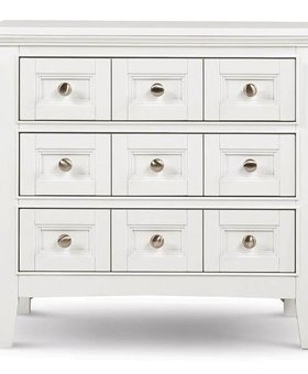 BEDROOM KENTWOOD NIGHTSTAND WHITE FINISH WITH BRUSHED NICKEL HARDWARE
