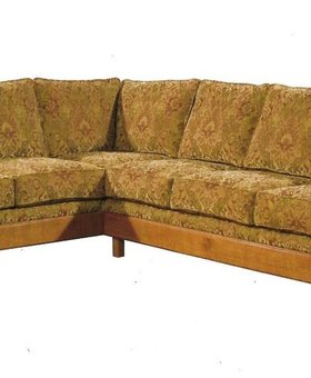 UPHOLSTERED MISSION SECTIONAL SOFA IN HAVEN FABRIC MISSION CHERRY FINISH