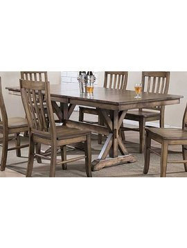 """DINING 78"""" TABLE WITH 18"""" BUTTERFLY LEAF RUST BROWN FINISH"""