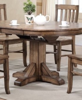 """DINING 42"""" ROUND TABLE RUST BROWN FINISH"""