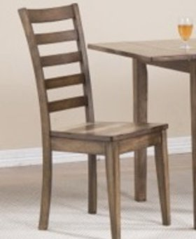 DINING LADDER BACK SIDE CHAIR RUST BROWN FINISH