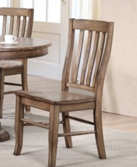 DINING RAKE BACK SIDE CHAIR RUST BROWN FINISH