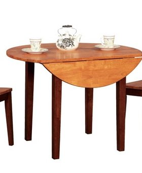 """DINING 42"""" ROUND DROPLEAF WITH 2 LEAVES FRUITWOOD FINISH"""