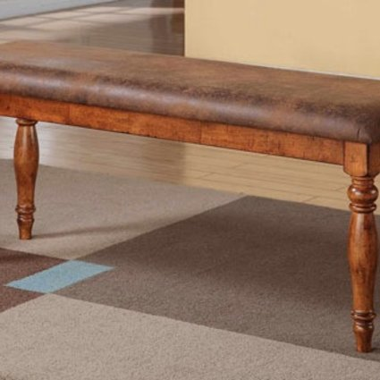 "DINING GRAND ESTATE 48"" BENCH WITH CUSHIONED SEAT ACACIA WOOD"