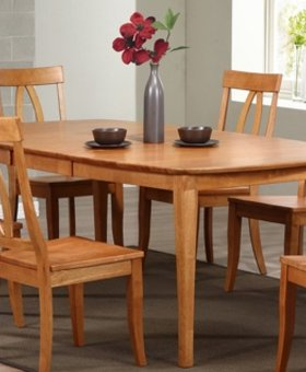 "DINING 78"" SANTA BARBARA LEG TABLE & 6 SLAT BACK CHAIRS (SHOWN WITH KEYHOLE CHAIRS)"