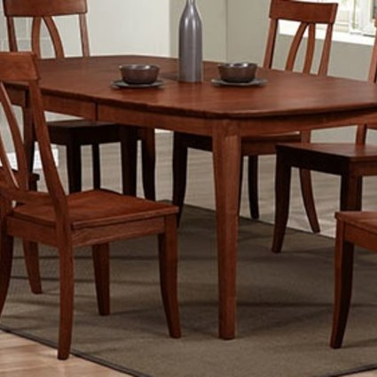 """DINING 78"""" SANTA BARBARA LEG TABLE WITH 18"""" BUTTERFLY LEAF CHESTNUT FINISH SOLID HARDWOOD"""