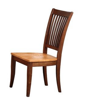 DINING SLAT BACK SIDE CHAIR - SOLID WOOD - FRUITWOOD FINISH