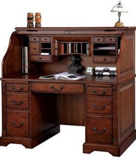 """OFFICE 57"""" COUNTRY CHERRY ROLLTOP DESK"""