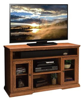 "ENTERTAINMENT COLONIAL PLACE 54"" TALL CONSOLE GOLDEN OAK FINISH"