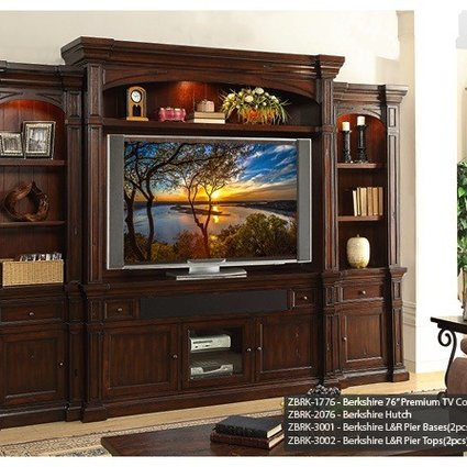 """ENTERTAINMENT BERKSHIRE PREMIUM 6PC ENTERTAINMENT WALL WITH 76"""" CONSOLE"""