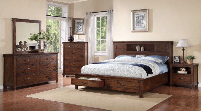 BEDROOM RESTORATION QUEEN BED WITH PANEL HEADBOARD AND  STORAGE FOOTBOARD