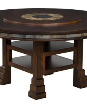 """DINING TABLE SANTA FE 60"""" ROUND WITH LAZY SUSAN"""