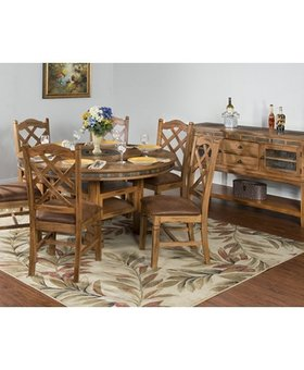 DINING SEDONA ROUND TABLE WITH LAZY SUSAN & 6 STOOLS
