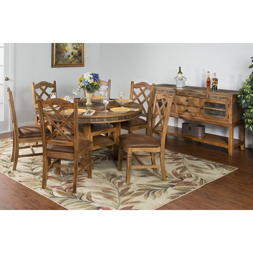 DINING SEDONA ROUND TABLE W/ LAZY SUSAN & 6 STOOLS