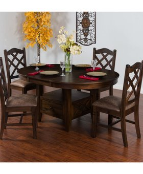 DINING SAVANNAH OVAL BUTTERFLY LEAF TABLE & 4 DOUBLE CROSS BACK CHAIRS
