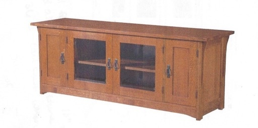 ENTERTAINMENT SOLID OAK MISSION 4 DOOR TV CONSOLE  MISSION CHERRY FINISH
