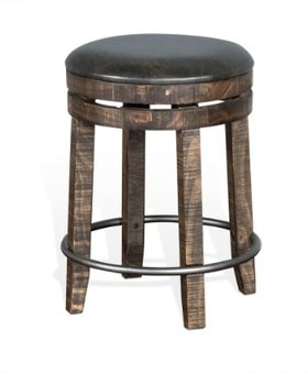 """DINING 24"""" BACKLESS STOOL WITH SWIVEL AND CUSHION SEAT"""