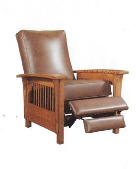 UPHOLSTERED LEATHER RECLINER MISSION CHERRY SOLID RED OAK WITH VINTAGE TOBACCO LEATHER