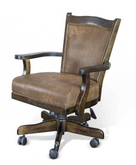 OFFICE SANTA FE GAME CHAIR WITH CASTERS BLACK CUSHION SEAT AND BACK
