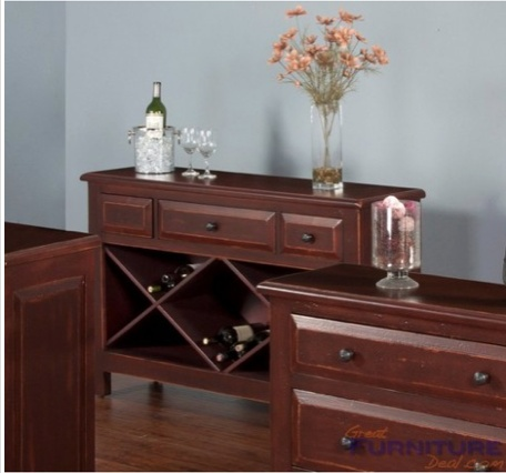 ACCENT RED WOOD RECTANGLE SOFA TABLE OR ACCENT CABINET WITH DRAWERS