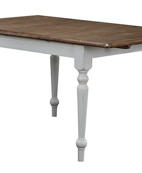 "DINING PACIFICA 60"" LEG TABLE WITH 15"" BUTTERFLY LEAF RUSTIC BROWN AND WHITE FINISH"