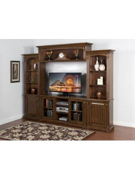 ENTERTAINMENT SAVANNAH 4PC GRAND ENTERTAINMENT WALL UNIT ANTIQUE CHARCOAL FINISH