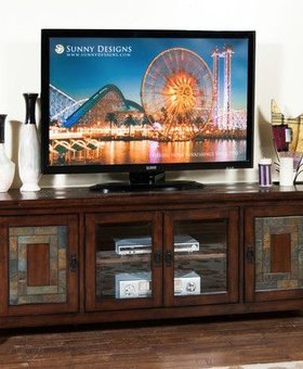 "ENTERTAINMENT 75"" DARK HAZELNUT TV CONSOLE"