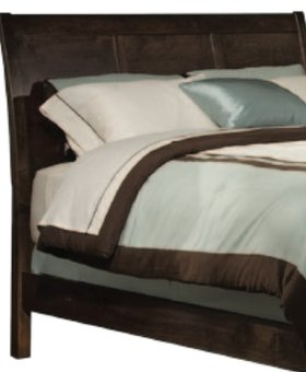 BEDROOM LAST ONE--SOLID ALDER SHAKER SLEIGH QUEEN HEADBOARD BROWN MAHOGANY FINISH