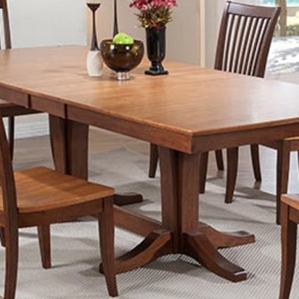 """DINING 96"""" DOUBLE PEDESTAL TABLE WITH 2 LEAVES FRUITWOOD FINISH"""
