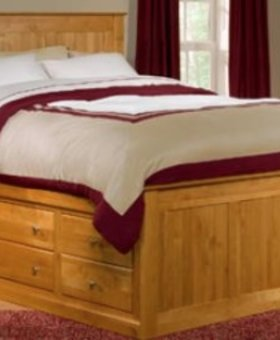 BEDROOM SOLID ALDER QUEEN PEDESTAL BED