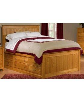 BEDROOM SOLID ALDER QUEEN PEDESTAL BED