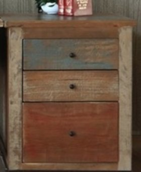 FILE CABINET ANTIQUE MULTICOLOR 3 DRAWER FILE CABINET