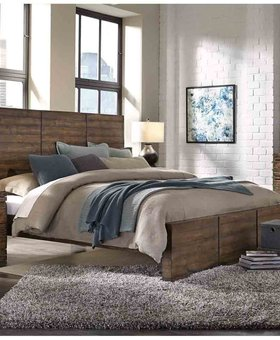 BEDROOM DIMENSIONS KING PANEL BED RUM FINSH