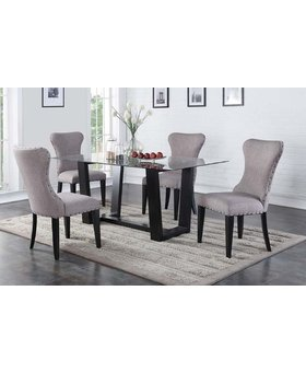 """DINING ENCORE 70"""" GLASS DINING TABLE WITH EBONY BASE AND 4 WING BACK SIDE CHAIR WITH GREY FABRIC EBONY LEGS"""